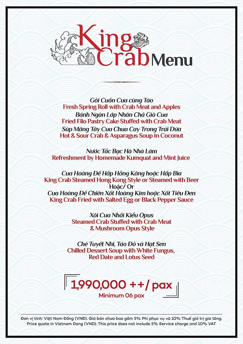 Menu King Crab
